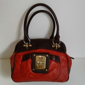 B Makowsky Red Leather Turnlock Satchel